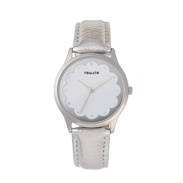 Tomato Fleur white and silver watch